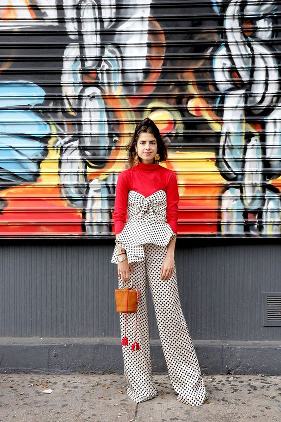 street style, polka dot jumpsuit, turtleneck, NYE outfit, the man repeller