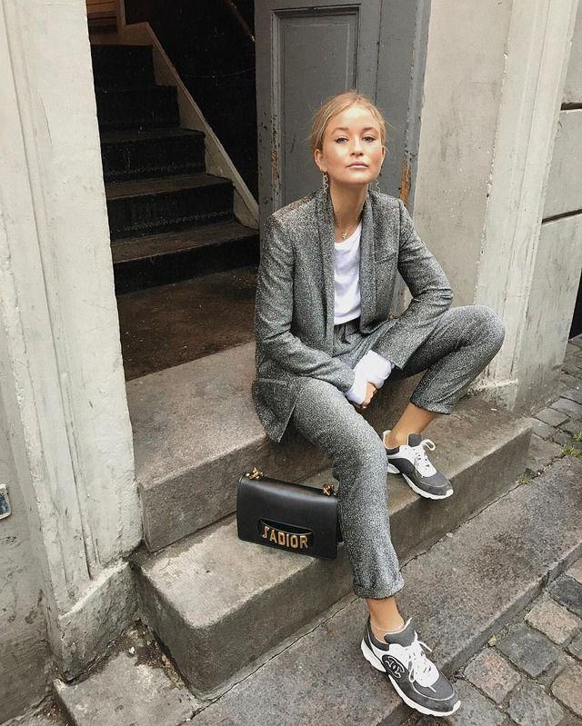 street style, metallic suit, silver suit, sneakers, josefinehj, instagram