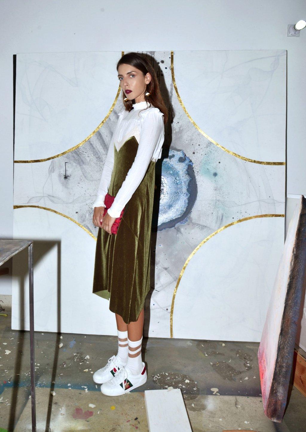 street style, velvet slip dress, andriasdose