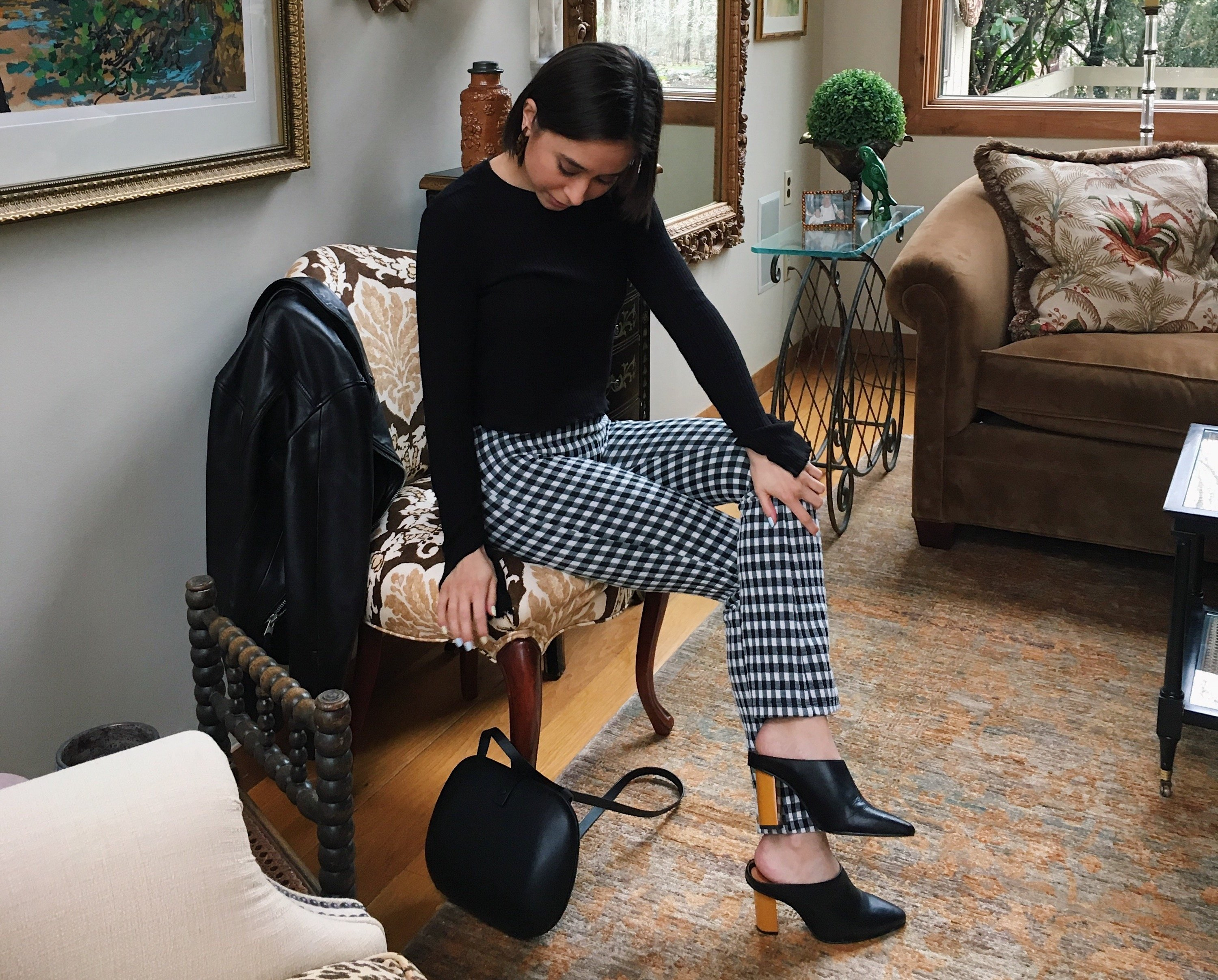 boston fashion blogger in gingham pants, heeled mules, spring trends
