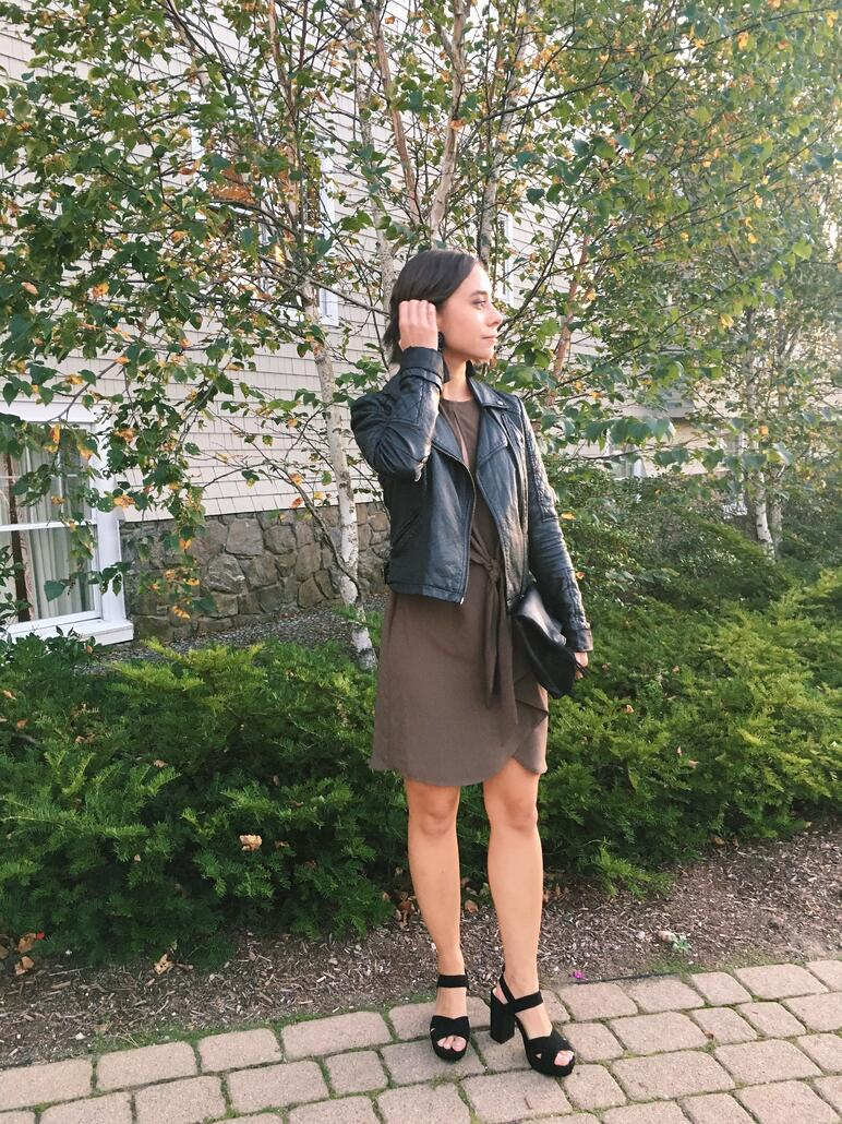Wedding rehearsal dinner guest outfit in New England in autumn featuring Topshop dress, leather jacket, fringe earrings